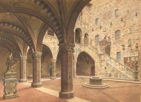 Patio interior, acuarela italiana
