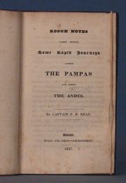 Head, Rough Notes, Head´s Journey to the Pampas and the Andes, Boston, 1827