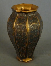 Vaso CRISTOFLE, Art Deco facetado bronce (411)